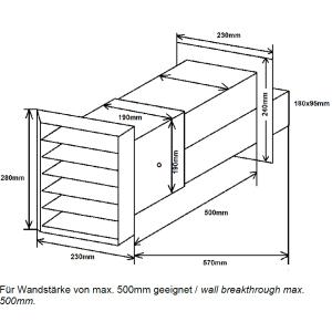 Ab- und Zuluft Mauerkasten Rechteckanschluss  40302042
