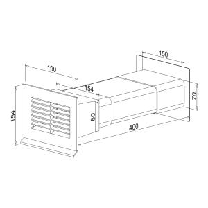 Mauerkasten flach NW 125mm Wandstärke 350mm 400506xx...