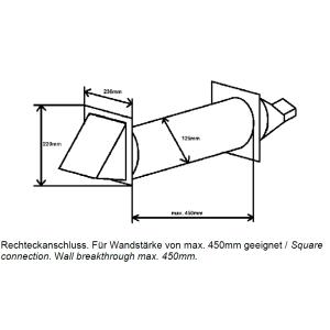 Mauerkasten rund NW 125mm Edelhaube Rechteckanschluss...