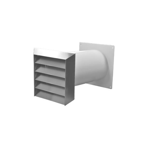 Mauerkasten rund NW 125mm Edelgitter inkl. Rechteckanschluss