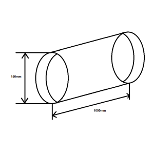Rundrohr NW 150mm Länge 1 Meter